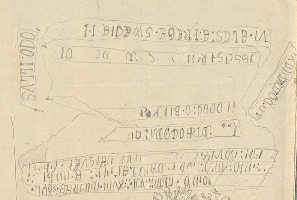 Blyertsskiss föreställande textinskriptioner
