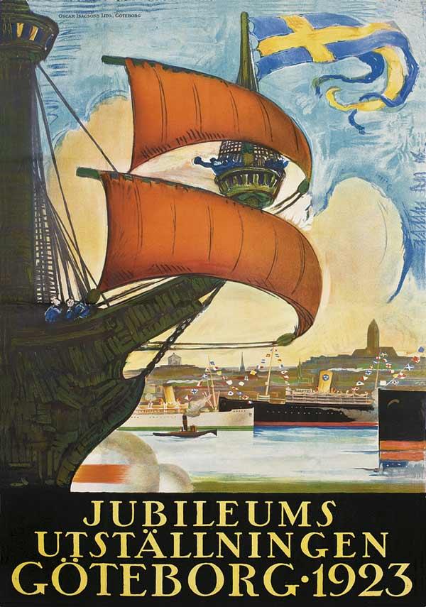 Affisch föreställande ett skepp med flera båtar och en stadssiluett i bakgrunden