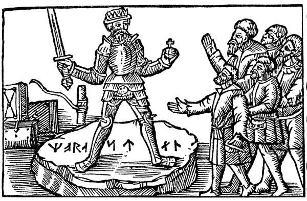 Illustration som visar en kung stående på en sten med en runinskrift, Mora sten.