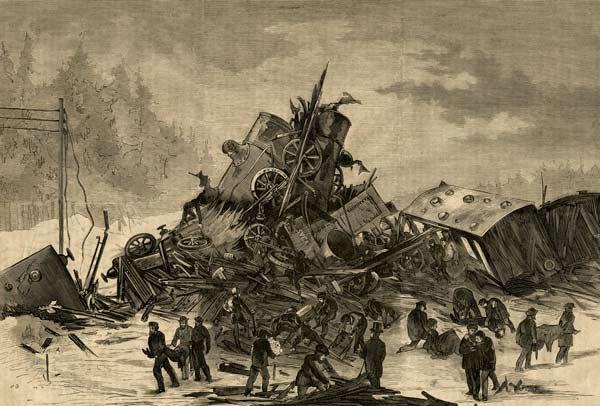 En teckning förställande hjälparbetet efter järnvägsolycka vid Lagerlunda