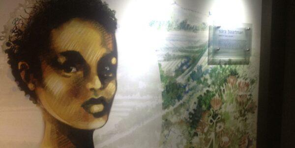 Väggmålning med porträtt av Sara Baartman