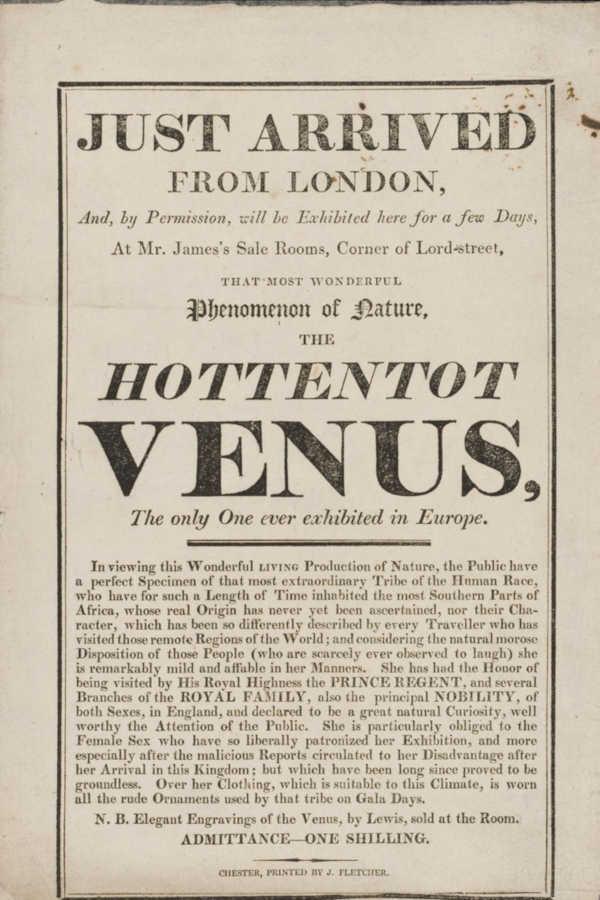 """Utställningsplansch med texten: """"Just arrived from London ... the Hottentot Venus."""